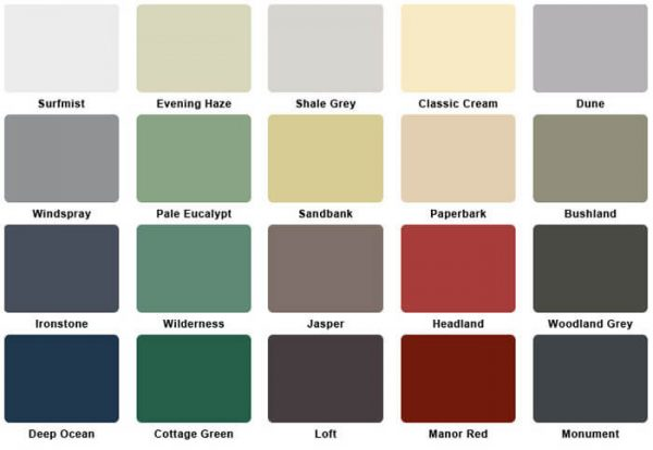 Bits of Steel Supplies -Colour-Chart